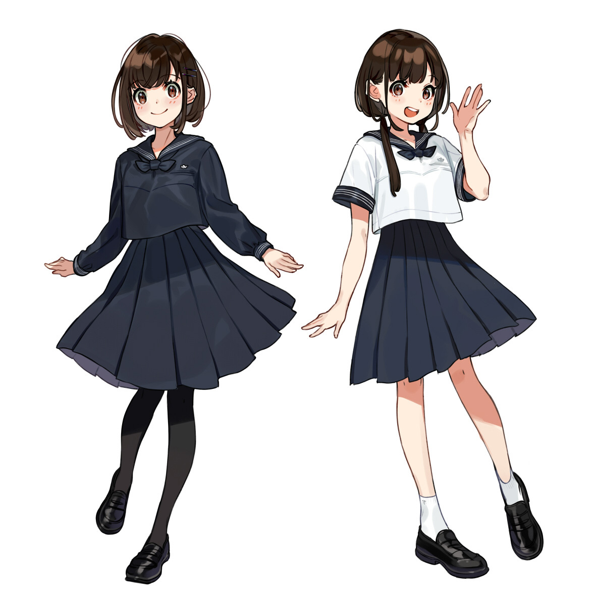 [Pixiv精选]你更爱哪款?黑VS白水手服插画特辑