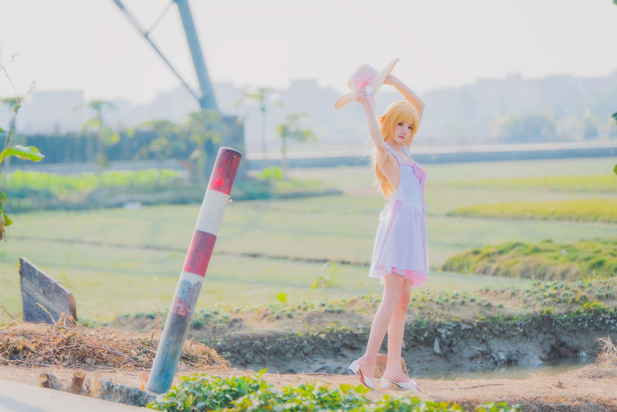 草帽连衣裙 裸体沐浴图-樱桃喵忍野忍COS