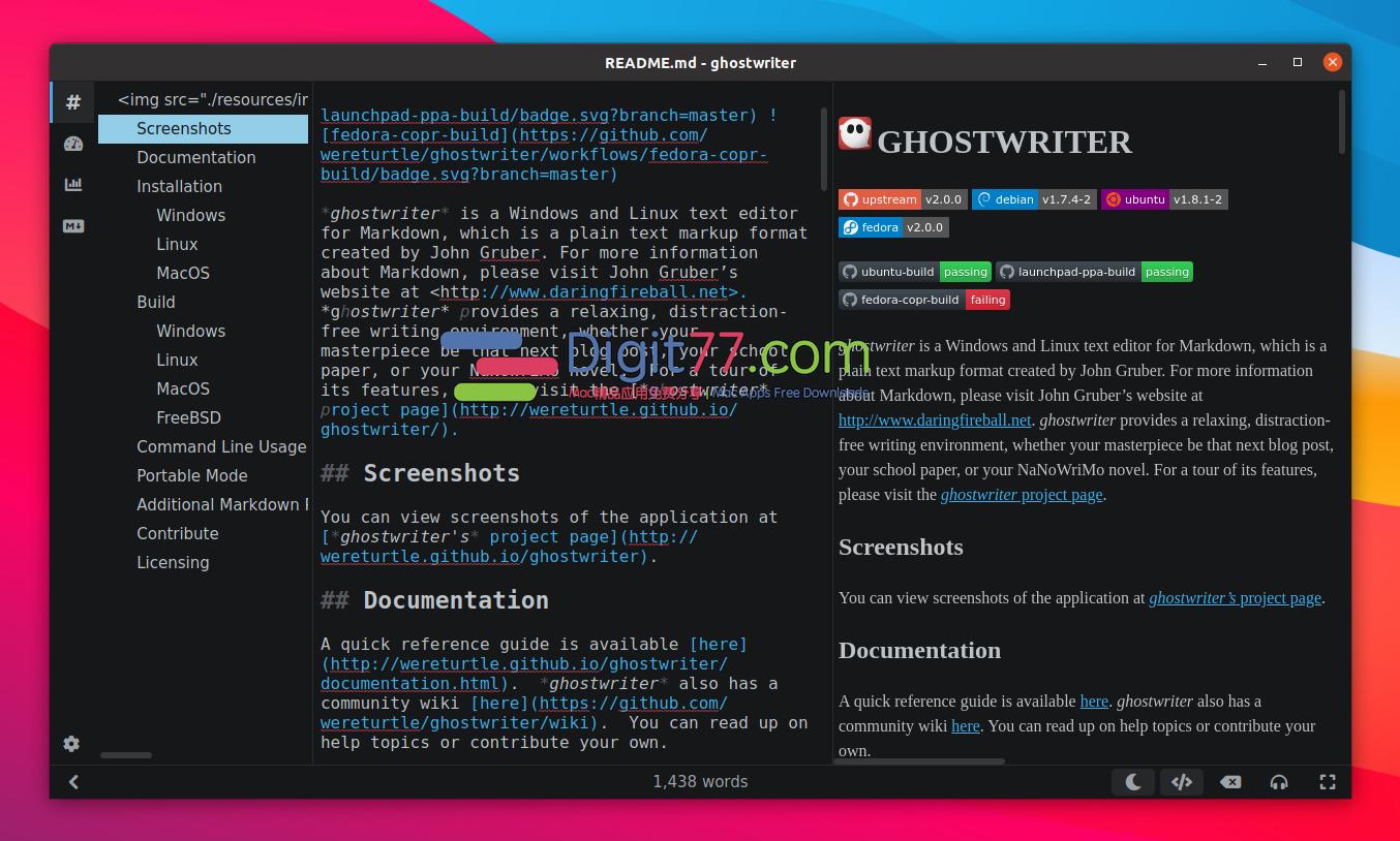 Qt5 Markdown Editor Ghostwriter 2.0.0 - Markdown编辑器