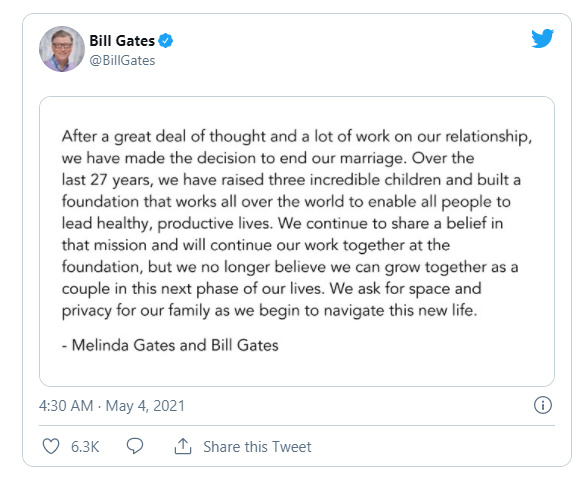 又一个大佬离婚!比尔·盖茨与梅琳达·盖茨长达27年婚姻关系结束